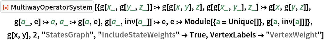"""ResourceFunction[  """"MultiwayOperatorSystem""""][{g[x_, g[y_, z_]] :> g[g[x, y], z], g[g[x_, y_], z_] :> g[x, g[y, z]], g[a_, e] :> a, a_ :> g[a, e], g[a_, inv[a_]] :> e, e :> Module[{a = Unique[]}, g[a, inv[a]]]}, g[x, y], 2, """"StatesGraph"""", """"IncludeStateWeights"""" -> True, VertexLabels -> """"VertexWeight""""]"""