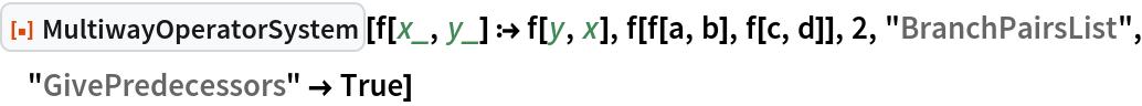 """ResourceFunction[""""MultiwayOperatorSystem""""][f[x_, y_] :> f[y, x], f[f[a, b], f[c, d]], 2, """"BranchPairsList"""", """"GivePredecessors"""" -> True]"""