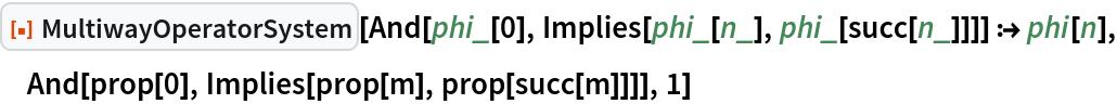 "ResourceFunction[""MultiwayOperatorSystem""][  And[phi_[0], Implies[phi_[n_], phi_[succ[n_]]]] :> phi[n], And[prop[0], Implies[prop[m], prop[succ[m]]]], 1]"