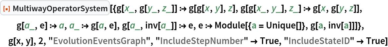 "ResourceFunction[  ""MultiwayOperatorSystem""][{g[x_, g[y_, z_]] :> g[g[x, y], z], g[g[x_, y_], z_] :> g[x, g[y, z]], g[a_, e] :> a, a_ :> g[a, e], g[a_, inv[a_]] :> e, e :> Module[{a = Unique[]}, g[a, inv[a]]]}, g[x, y], 2, ""EvolutionEventsGraph"", ""IncludeStepNumber"" -> True, ""IncludeStateID"" -> True]"