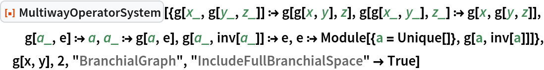 "ResourceFunction[  ""MultiwayOperatorSystem""][{g[x_, g[y_, z_]] :> g[g[x, y], z], g[g[x_, y_], z_] :> g[x, g[y, z]], g[a_, e] :> a, a_ :> g[a, e], g[a_, inv[a_]] :> e, e :> Module[{a = Unique[]}, g[a, inv[a]]]}, g[x, y], 2, ""BranchialGraph"", ""IncludeFullBranchialSpace"" -> True]"