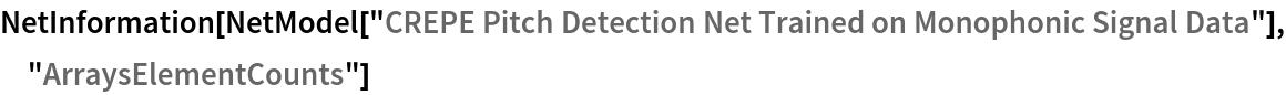 "NetInformation[  NetModel[""CREPE Pitch Detection Net Trained on Monophonic Signal \ Data""], ""ArraysElementCounts""]"