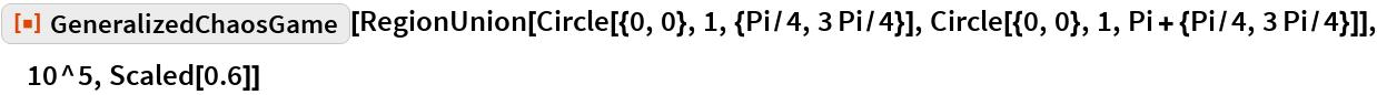 "ResourceFunction[""GeneralizedChaosGame""][  RegionUnion[Circle[{0, 0}, 1, {Pi/4, 3 Pi/4}], Circle[{0, 0}, 1, Pi + {Pi/4, 3 Pi/4}]], 10^5, Scaled[0.6]]"