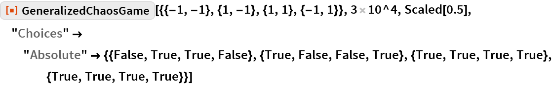 """ResourceFunction[  """"GeneralizedChaosGame""""][{{-1, -1}, {1, -1}, {1, 1}, {-1, 1}}, 3 10^4,   Scaled[0.5], """"Choices"""" -> """"Absolute"""" -> {{False, True, True, False}, {True, False, False, True}, {True, True, True, True}, {True, True, True, True}}]"""