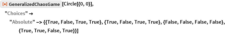"ResourceFunction[""GeneralizedChaosGame""][Circle[{0, 0}], ""Choices"" -> ""Absolute"" -> {{True, False, True, True}, {True, False, True, True}, {False, False, False, False}, {True, True, False, True}}]"