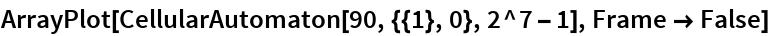 ArrayPlot[CellularAutomaton[90, {{1}, 0}, 2^7 - 1], Frame -> False]