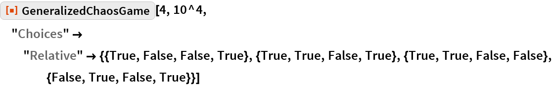 """ResourceFunction[""""GeneralizedChaosGame""""][4, 10^4, """"Choices"""" -> """"Relative"""" -> {{True, False, False, True}, {True, True, False, True}, {True, True, False, False}, {False, True, False, True}}]"""