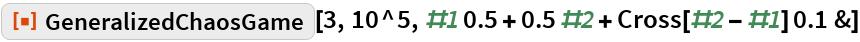 "ResourceFunction[""GeneralizedChaosGame""][3, 10^5, #1 0.5 + 0.5 #2 + Cross[#2 - #1] 0.1 &]"