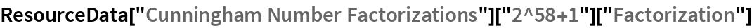 "ResourceData[""Cunningham Number Factorizations""][   ""2^58+1""][""Factorization""]"