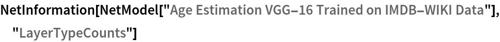 "NetInformation[  NetModel[""Age Estimation VGG-16 Trained on IMDB-WIKI Data""], \ ""LayerTypeCounts""]"