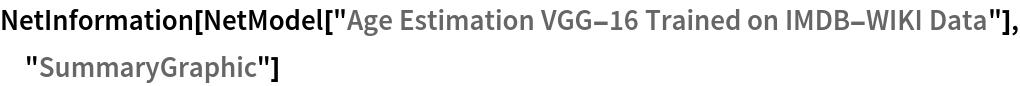 """NetInformation[  NetModel[""""Age Estimation VGG-16 Trained on IMDB-WIKI Data""""], \ """"SummaryGraphic""""]"""