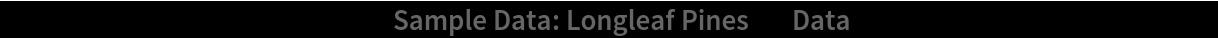 "PointValuePlot[ResourceData[\!\(\* TagBox[""\""\<Sample Data: Longleaf Pines\>\"""", #& , BoxID -> ""ResourceTag-Sample Data: Longleaf Pines-Input"", AutoDelete->True]\), ""Data""], PlotLegends -> Automatic]"