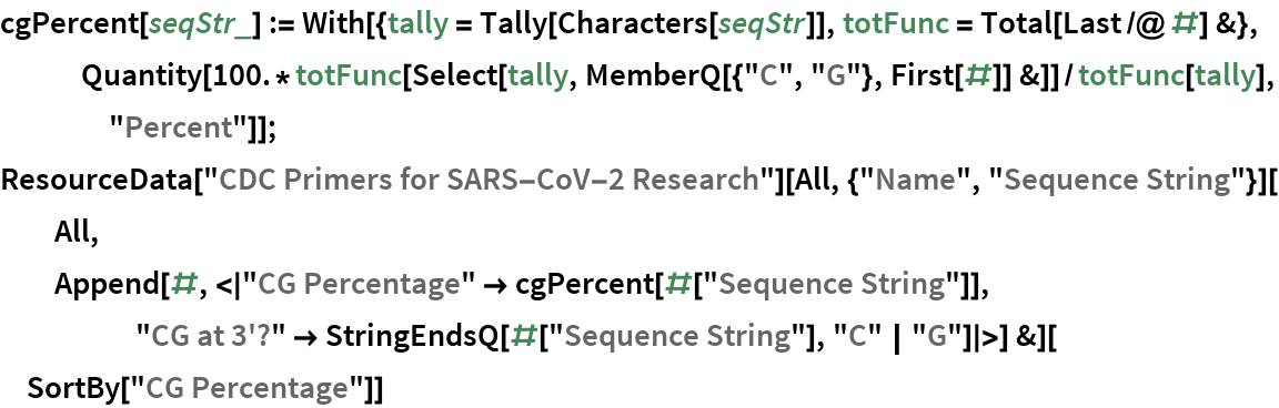 "cgPercent[seqStr_] := With[{tally = Tally[Characters[seqStr]], totFunc = Total[Last /@ #] &},    Quantity[     100.*totFunc[Select[tally, MemberQ[{""C"", ""G""}, First[#]] &]]/       totFunc[tally], ""Percent""]]; ResourceData[""CDC Primers for SARS-CoV-2 Research""][    All, {""Name"", ""Sequence String""}][All, Append[#, <