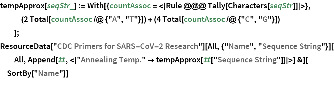 "tempApprox[seqStr_] := With[{countAssoc = <|Rule @@@ Tally[Characters[seqStr]]|>},    (2 Total[countAssoc /@ {""A"", ""T""}]) + (4 Total[        countAssoc /@ {""C"", ""G""}])    ]; ResourceData[""CDC Primers for SARS-CoV-2 Research""][    All, {""Name"", ""Sequence String""}][All, Append[#, <