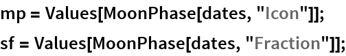 """mp = Values[MoonPhase[dates, """"Icon""""]]; sf = Values[MoonPhase[dates, """"Fraction""""]];"""