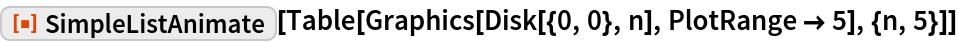 """ResourceFunction[""""SimpleListAnimate""""][  Table[Graphics[Disk[{0, 0}, n], PlotRange -> 5], {n, 5}]]"""