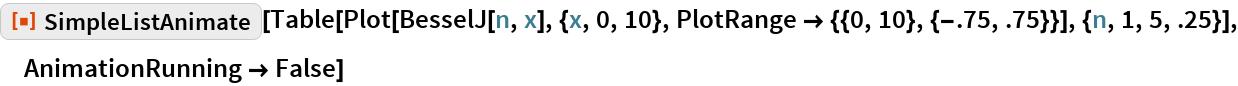 "ResourceFunction[""SimpleListAnimate""][  Table[Plot[BesselJ[n, x], {x, 0, 10}, PlotRange -> {{0, 10}, {-.75, .75}}], {n, 1, 5, .25}], AnimationRunning -> False]"