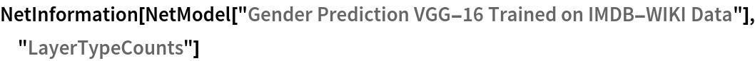 "NetInformation[  NetModel[""Gender Prediction VGG-16 Trained on IMDB-WIKI Data""], \ ""LayerTypeCounts""]"