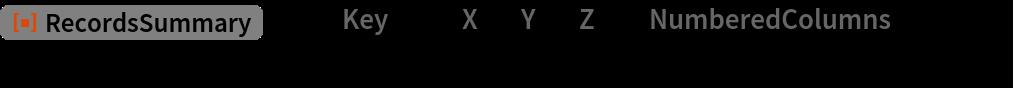 "ResourceFunction[""RecordsSummary""][asc, ""Key"" -> {""X"", ""Y"", ""Z""}, ""NumberedColumns"" -> False, Thread -> True]"