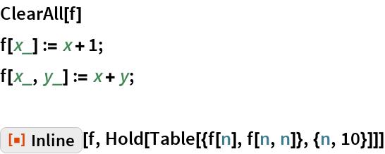 """ClearAll[f] f[x_] := x + 1; f[x_, y_] := x + y;  ResourceFunction[""""Inline""""][f, Hold[Table[{f[n], f[n, n]}, {n, 10}]]]"""