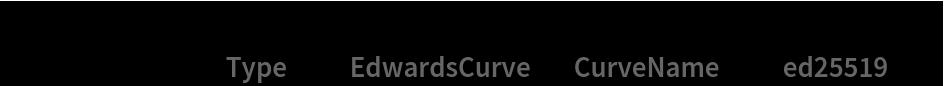 "myKeys = GenerateAsymmetricKeyPair[   Method -> < ""Type"" -> ""EdwardsCurve"", ""CurveName"" -> ""ed25519"" >]"