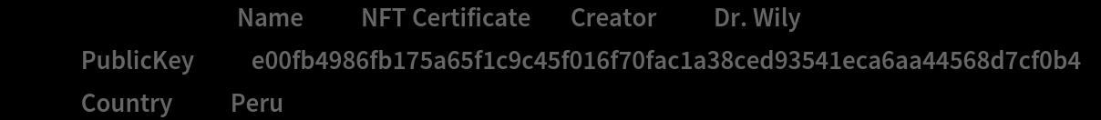 """certificateData = < """"Name"""" -> """"NFT Certificate"""", """"Creator"""" -> """"Dr. Wily"""", """"PublicKey"""" -> """"e00fb4986fb175a65f1c9c45f016f70fac1a38ced93541eca6aa44568d7cf0b4"""", """"Country"""" -> """"Peru"""" >;"""