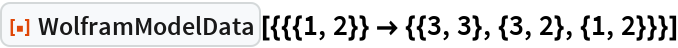 """ResourceFunction[  """"WolframModelData""""][{{{1, 2}} -> {{3, 3}, {3, 2}, {1, 2}}}]"""