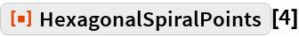 """ResourceFunction[""""HexagonalSpiralPoints""""][4]"""