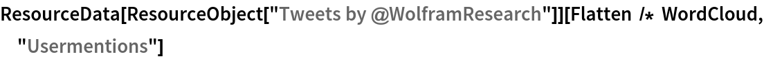 "ResourceData[ ResourceObject[""Tweets by @WolframResearch""]][  Flatten /* WordCloud, ""Usermentions""]"