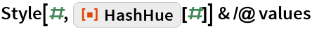 """Style[#, ResourceFunction[""""HashHue""""][#]] & /@ values"""