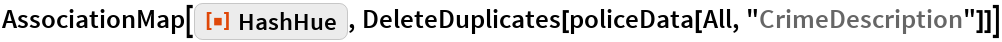 "AssociationMap[ResourceFunction[""HashHue""], DeleteDuplicates[policeData[All, ""CrimeDescription""]]]"