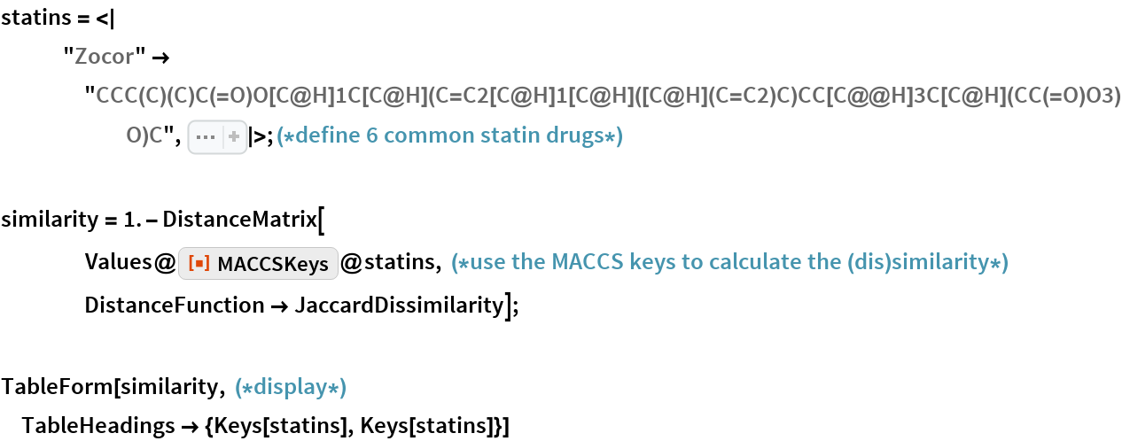 "statins = <     ""Zocor"" -> ""CCC(C)(C)C(=O)O[C@H]1C[C@H](C=C2[C@H]1[C@H]([C@H](C=C2)C)CC[C@@H]\ 3C[C@H](CC(=O)O3)O)C"", Sequence[    ""Pravachol"" -> ""CC[C@H](C)C(=O)O[C@H]1C[C@@H](C=C2[C@H]1[C@H]([C@H]\ (C=C2)C)CC[C@H](C[C@H](CC(=O)[O-])O)O)O"", ""Lipitor"" -> ""CC(C)C1=C(C(=C(N1CC[C@H](C[C@H](CC(=O)[O-])O)O)C2=\ CC=C(C=C2)F)C3=CC=CC=C3)C(=O)NC4=CC=CC=C4.[Ca+2]"", ""Lescol"" -> ""CC(C)N1C2=CC=CC=C2C(=C1/C=C/[C@H](C[C@H](CC(=O)O)O)O)\ C3=CC=C(C=C3)F"", ""Crestor"" -> ""CC(C1=NC(=NC(=C1/C=C/[C@@H](O)C[C@@H](O)CC(=O)[O-])\ C2=CC=C(C=C2)F)N(S(=O)(=O)C)C)C.CC(C1=NC(=NC(=C1/C=C/[C@@H](O)C[C@@H](\ O)CC(=O)[O-])C2=CC=C(C=C2)F)N(S(=O)(=O)C)C)C.[Ca+2]"", ""Altoprev"" -> ""CC[C@H](C)C(=O)O[C@H]1C[C@H](C=C2[C@H]1[C@H]([C@H](\ C=C2)C)CC[C@@H]3C[C@H](CC(=O)O3)O)C""] >; (*define 6 common statin \ drugs*)  similarity = 1. - DistanceMatrix[     Values@      ResourceFunction[""MACCSKeys""]@       statins, (*use the MACCS keys to calculate the (dis)similarity*) DistanceFunction -> JaccardDissimilarity];  TableForm[similarity, (*display*) TableHeadings -> {Keys[statins], Keys[statins]}]"