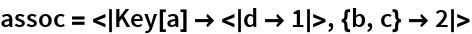 assoc = <|Key[a] -> <|d -> 1|>, {b, c} -> 2|>