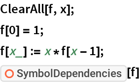 "ClearAll[f, x]; f[0] = 1; f[x_] := x*f[x - 1]; ResourceFunction[""SymbolDependencies""][f]"