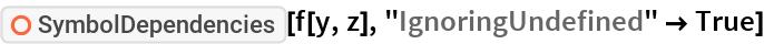 "ResourceFunction[""SymbolDependencies""][f[y, z], ""IgnoringUndefined"" -> True]"