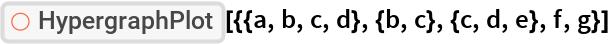 "ResourceFunction[  ""HypergraphPlot""][{{a, b, c, d}, {b, c}, {c, d, e}, f, g}]"