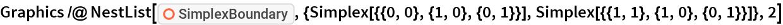 """Graphics /@ NestList[ResourceFunction[   """"SimplexBoundary""""], {Simplex[{{0, 0}, {1, 0}, {0, 1}}], Simplex[{{1, 1}, {1, 0}, {0, 1}}]}, 2]"""