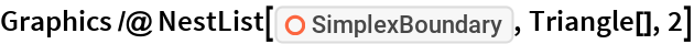 "Graphics /@ NestList[ResourceFunction[""SimplexBoundary""], Triangle[], 2]"