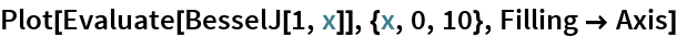 Plot[Evaluate[BesselJ[1, x]], {x, 0, 10}, Filling -> Axis]
