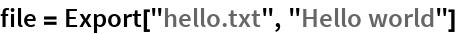 "file = Export[""hello.txt"", ""Hello world""]"