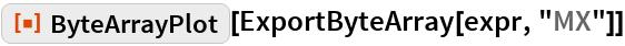 "ResourceFunction[""ByteArrayPlot""][ExportByteArray[expr, ""MX""]]"