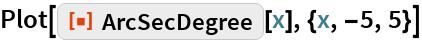 "Plot[ResourceFunction[""ArcSecDegree""][x], {x, -5, 5}]"