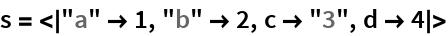 "s = <|""a"" -> 1, ""b"" -> 2, c -> ""3"", d -> 4|>"