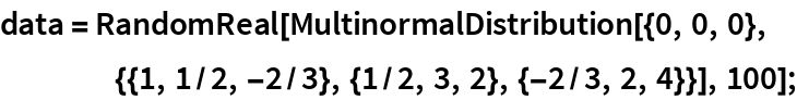 data = RandomReal[    MultinormalDistribution[{0, 0, 0}, {{1, 1/2, -2/3}, {1/2, 3, 2}, {-2/3, 2, 4}}], 100];