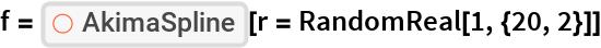 "f = ResourceFunction[""AkimaSpline""][r = RandomReal[1, {20, 2}]]"