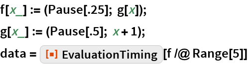"f[x_] := (Pause[.25]; g[x]); g[x_] := (Pause[.5]; x + 1); data = ResourceFunction[""EvaluationTiming""][f /@ Range[5]]"