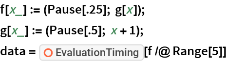 """f[x_] := (Pause[.25]; g[x]); g[x_] := (Pause[.5]; x + 1); data = ResourceFunction[""""EvaluationTiming""""][f /@ Range[5]]"""
