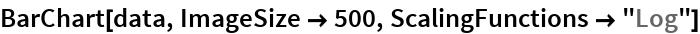 """BarChart[data, ImageSize -> 500, ScalingFunctions -> """"Log""""]"""