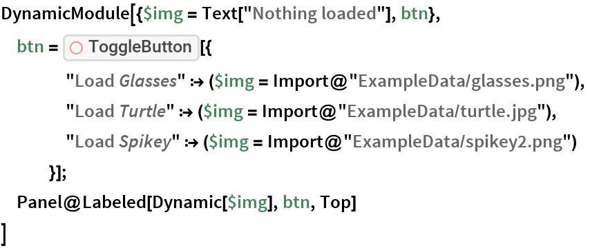 """DynamicModule[{$img = Text[""""Nothing loaded""""], btn},  btn = ResourceFunction[""""ToggleButton""""][{     """"Load \!\(\* StyleBox[\""""Glasses\"""",\nFontSlant->\""""Italic\""""]\)"""" :> ($img = Import@""""ExampleData/glasses.png""""),     """"Load \!\(\* StyleBox[\""""Turtle\"""",\nFontSlant->\""""Italic\""""]\)"""" :> ($img = Import@""""ExampleData/turtle.jpg""""),     """"Load \!\(\* StyleBox[\""""Spikey\"""",\nFontSlant->\""""Italic\""""]\)"""" :> ($img = Import@""""ExampleData/spikey2.png"""")     }];  Panel@Labeled[Dynamic[$img], btn, Top]  ]"""