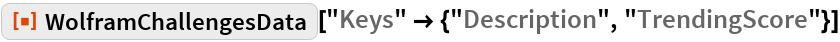 """ResourceFunction[""""WolframChallengesData""""][  """"Keys"""" -> {""""Description"""", """"TrendingScore""""}]"""